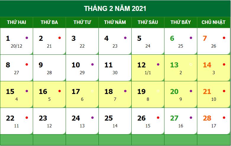 lịch nghỉ tết 2021